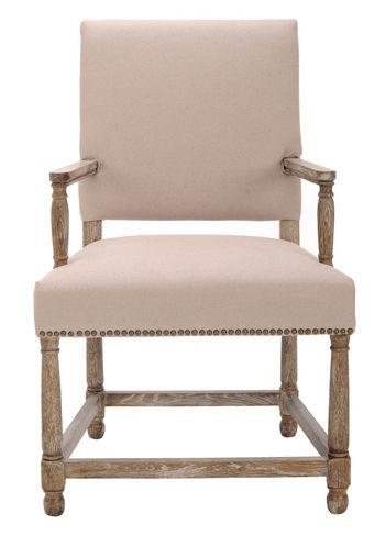 """Faxon Arm Chair W/ Brass Nail Heads, 25.6"""" X 40.6"""""""