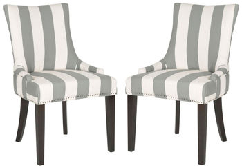 """Lester 19''H Awning Stripes Dining Chair, Set Of 2 - Flat Nail Heads, 22"""" X 36.4"""""""
