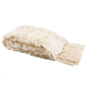 """Faux Fur Alexi 20 X 80 Throw, Bed Runner, 80"""" X 20"""", Cream"""