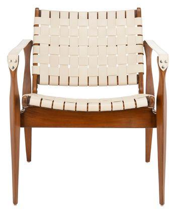 "Dilan Leather Safari Chair, 24.5"" X 30"", White/Light Brown"