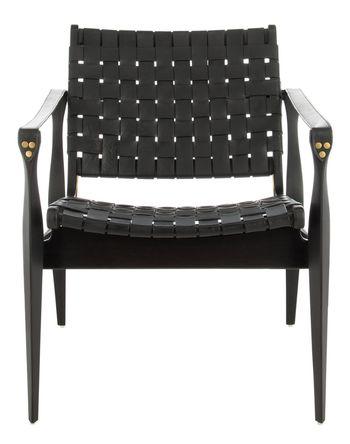 """Dilan Leather Safari Chair, 24.5"""" X 30"""", Black"""