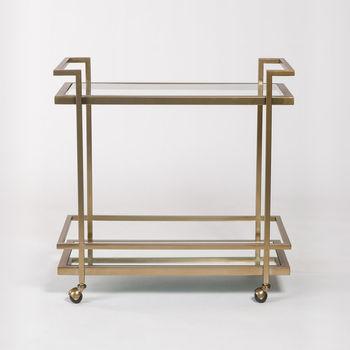 Brentwood Bar Cart In Antique Brass