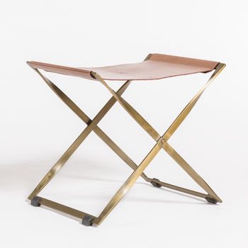 Harper Scissor Ottoman In Tanned Umber And Antique Brass