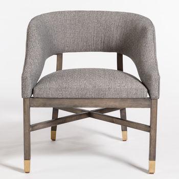Wyatt Dining Chair In Modern Tweed And Distressed Beechwood