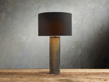 Adrano Table Lamp In Gold With Black Shade