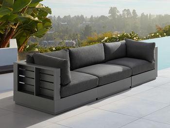"""Bal Harbour Outdoor 117"""" Aluminum Sofa In Spectrum Carbon"""