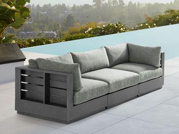 """Bal Harbour Outdoor 117"""" Aluminum Sofa In Starboard Mink"""