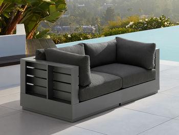 """Bal Harbour Outdoor 78"""" Aluminum Sofa In Spectrum Carbon"""