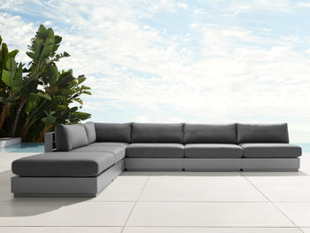 """Bal Harbour Outdoor Aluminum 156"""" L-Shaped Sectional In Spectrum Carbon"""