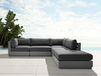 Bal Harbour Outdoor Aluminum Five Piece Right Ottoman Sectional