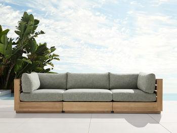 """Bal Harbour Outdoor Teak 117"""" Sofa In Starboard Mink"""