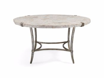"""Boracay 36"""" Coffee Table With Marble Top In Platinum"""