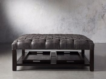"Butler Tufted Upholstered 48"" Square Ottoman"
