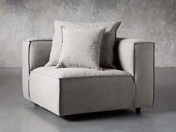 "Coburn Upholstered 43"" Corner Chair In Capricorn Grey"