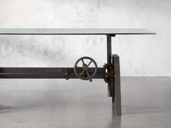 """Industrial 86"""" Crank Desk With Base"""