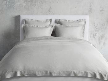 King Italian Linen Hemstitch Duvet Cover In Celadon