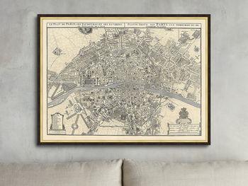 "Silver Leaf Paris Map - 36"" X 27"""