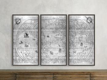 "Silver World Map 22"" X 42"" Triptych"