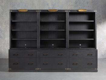"Tremont Modular 120"" Triple Bookcase In Dry Branch Black"