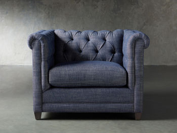 """Vangogh Upholstered 46"""" Tufted Chair In Nomad Navy"""