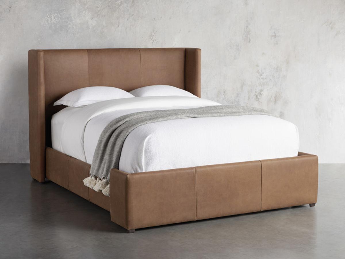 "Wyller Leather 52"" King Bed In Lukas Pecan"
