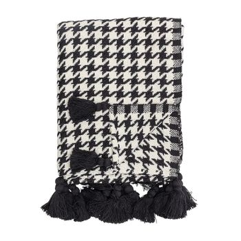 Cotton Woven Houndstooth Throw W/ Tassels, Black & White