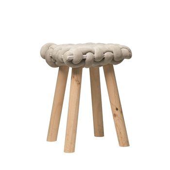 Woven Stool W/ Wood Legs, Grey