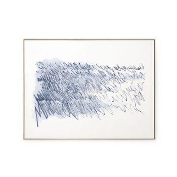 Agean Diary Framed Silk Panel, Navy Blue