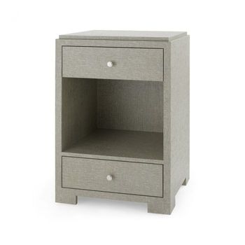 Fedor 2-Drawer Side Table, Moss Gray Tweed