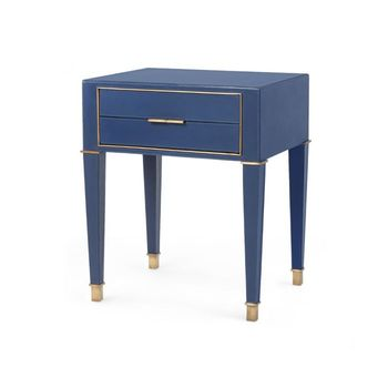 Hunter 2-Drawer Side Table, Navy Blue