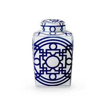 Jasper Square Jar, Blue & White