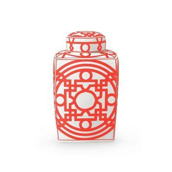 Jasper Square Jar, Orange & White