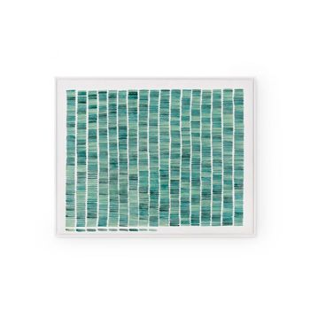 Rain Framed Silk Panel, Green