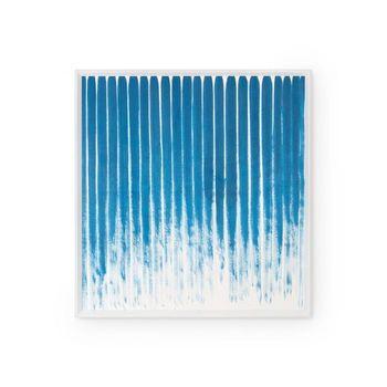 Stripes Framed Silk Panel, Navy Blue