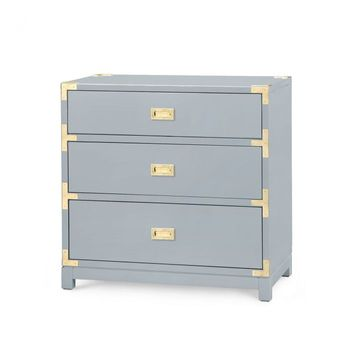 Victoria 3-Drawer Side Table, Gray