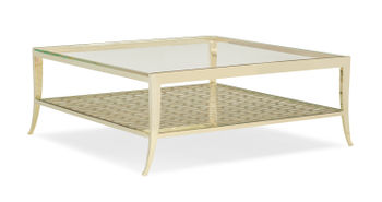 Square Gold Metal Glass Top Cocktail Table