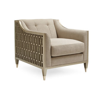 Taupe Club Chair With Lattice Frame