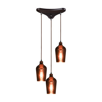 Hammered Glass 3-Light Triangular Pendant Fixture In Oiled Bronze With Copper-Plated Hammered Glass