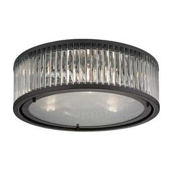 Linden Manor 3-Light Flush Mount In Oil Rubbed Bronze With Diffuser