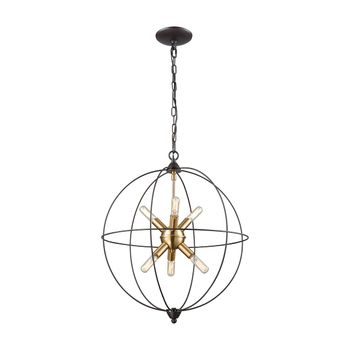 Loftin 6-Light Chandelier In Oil Rubbed Bronze And Satin Brass