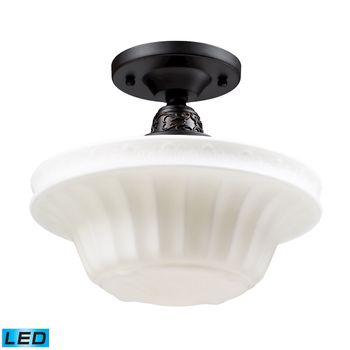 Quinton Parlor 1-Light Semi Flush In Oiled Bronze With White Glass - Includes Led Bulb