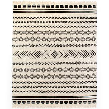 Black Patterned Stripe Rug 8' X 10'