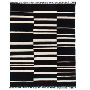 Offset Black Stripe Cotton Rug, 8X10'