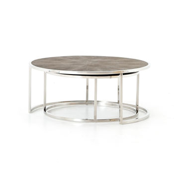 Shagreen Nesting Coffee Table-Stainless