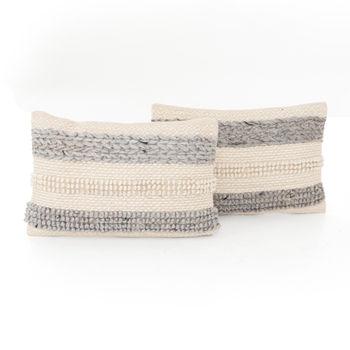 "Textured Stripe Pillow, Set Of 2-16X24"""