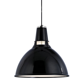 "Lydney 1 Light Pendant, Black/Polished Nickel Body, Black Shade, 18.25"""