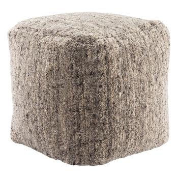 Jaipur Living Sherwood Solid Gray/ Beige Cube Pouf