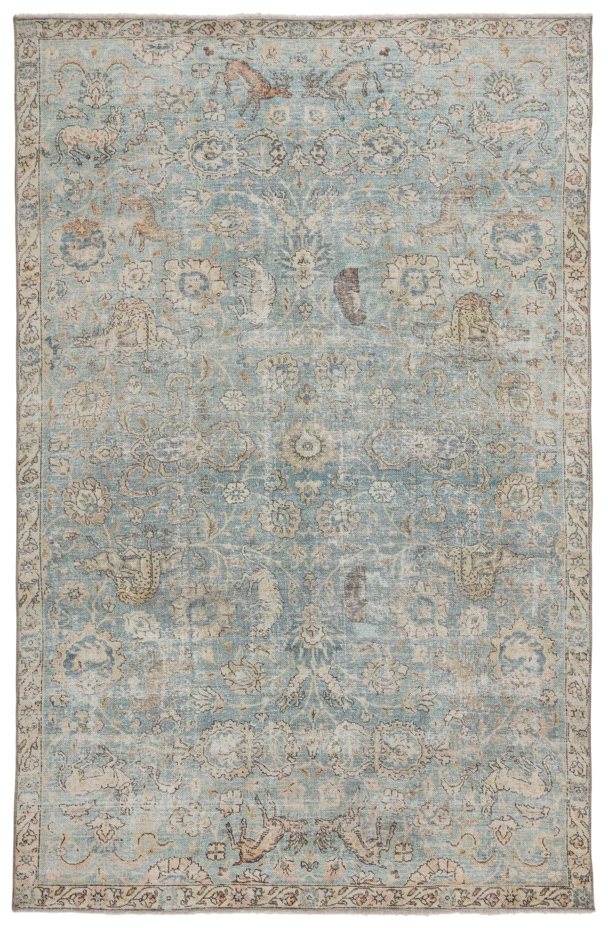 "Jaipur Living Stag Oriental Teal/ Gold Area Rug (7'10""X9'10"")"