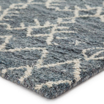 Hand-Knotted Trellis Rug - Blue/ Ivory (9'X12')