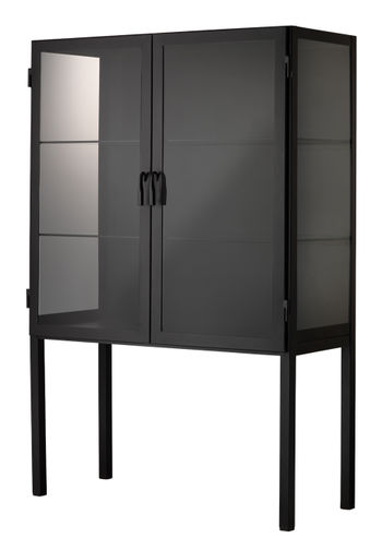 Chauncey Wide Curio Bar Cabinet In Black Iron & Clear Glass *Must Ship Common Carrier.
